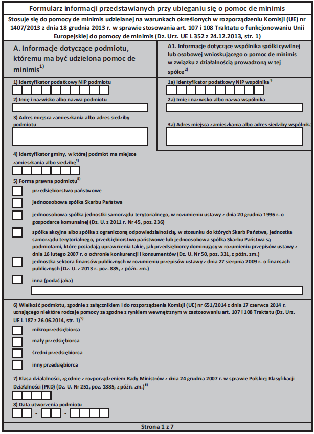 bdo, pomoc de minimis, zwolnienie z opłat, formularz informacyjn